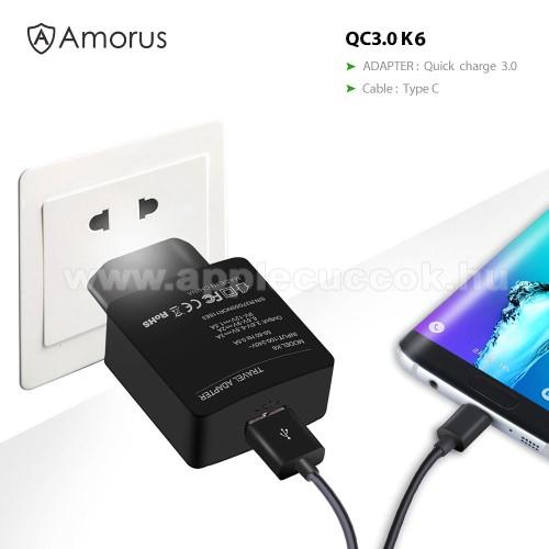 AMORUS K6 h�l�zati t�lt? USB aljzattal - Qualcomm quick charge 3.0 (6.5V-9V/2A 9V-12V/1.5A) �s 3.6V-6.5V/3A, 1m-es Type-C t�lt? k�bellel - FEKETE - GY�RI