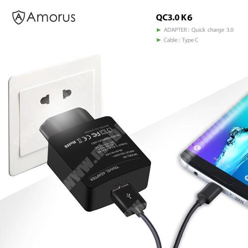 LG G6 (H870) AMORUS K6 hálózati töltő USB aljzattal - Qualcomm quick charge 3.0 (6.5V-9V/2A 9V-12V/1.5A) és 3.6V-6.5V/3A, 1m-es Type-C töltő kábellel - FEKETE - GYÁRI