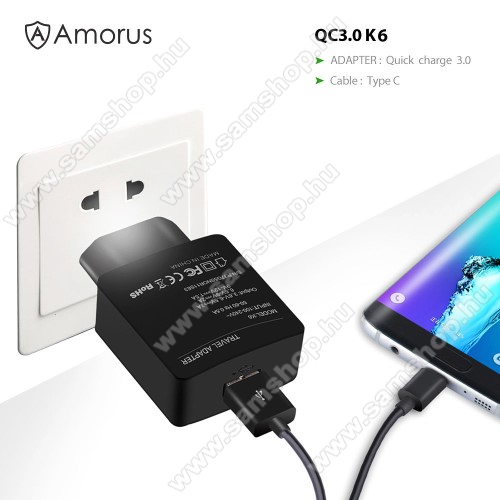 SAMSUNG SM-A320F Galaxy A3 (2017)AMORUS K6 hálózati töltő USB aljzattal - Qualcomm quick charge 3.0 (6.5V-9V/2A 9V-12V/1.5A) és 3.6V-6.5V/3A, 1m-es Type-C töltő kábellel - FEKETE - GYÁRI