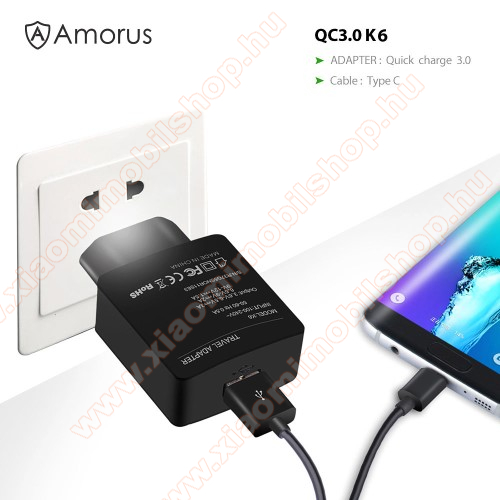 Xiaomi Redmi Note 7 ProAMORUS K6 hálózati töltő USB aljzattal - Qualcomm quick charge 3.0 (6.5V-9V/2A 9V-12V/1.5A) és 3.6V-6.5V/3A, 1m-es Type-C töltő kábellel - FEKETE - GYÁRI
