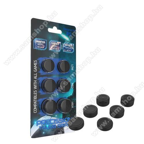 Analóg kar védő szilikon kupak - 6db / csomag, 3 különböző magasságú - PS5 kontrollerekhez - FEKETE