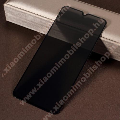 Anti-Peep előlap védő karcálló edzett üveg - FEKETE - 9H, betekintés elleni védelemmel, a teljes felületén tapad! - A TELJES KIJELZŐT VÉDI! - SAMSUNG SM-M105F Galaxy M10