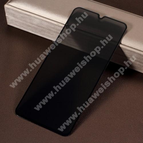 Anti-Peep előlap védő karcálló edzett üveg - FEKETE - 9H, betekintés elleni védelemmel, a teljes felületén tapad! - A TELJES KIJELZŐT VÉDI! - SAMSUNG SM-M205F Galaxy M20