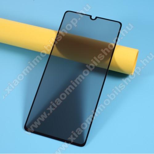 Anti-Peep előlap védő karcálló edzett üveg - FEKETE - 9H, betekintés elleni védelemmel, a teljes felületén tapad! - A TELJES KIJELZŐT VÉDI! - SAMSUNG Galaxy A41 (SM-A415F)