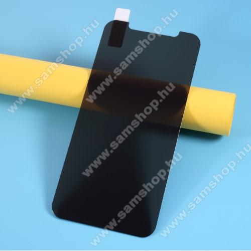 Anti-peep előlap védő karcálló edzett üveg - ÁTLÁTSZÓ - 9H, betekintés elleni védelemmel, a teljes felületén tapad! - A képernyő sík részét védi - APPLE iPhone 12 mini