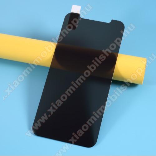Anti-peep előlap védő karcálló edzett üveg - ÁTLÁTSZÓ - 9H, betekintés elleni védelemmel, a teljes felületén tapad! - A képernyő sík részét védi - APPLE iPhone 12 / APPLE iPhone 12 Pro