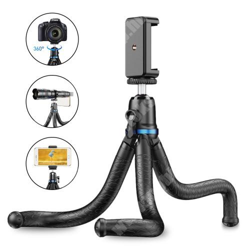 """Elephone P9 Water APEXEL APL-JJ10 TRIPOD állvány / selfie bot - 65-87mm-es bölcsővel, 360 fokban forgatható, flexibilis lábakkal, univerzális 1/4 """"-es csavar, teherbírás: 3kg! - FEKETE"""
