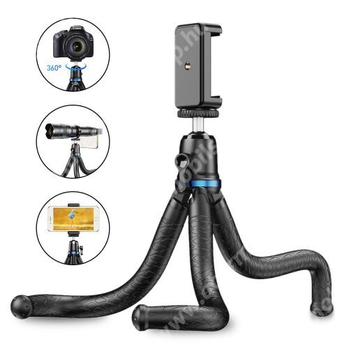 """APEXEL APL-JJ10 TRIPOD állvány / selfie bot - 65-87mm-es bölcsővel, 360 fokban forgatható, flexibilis lábakkal, univerzális 1/4 """"-es csavar, teherbírás: 3kg! - FEKETE"""