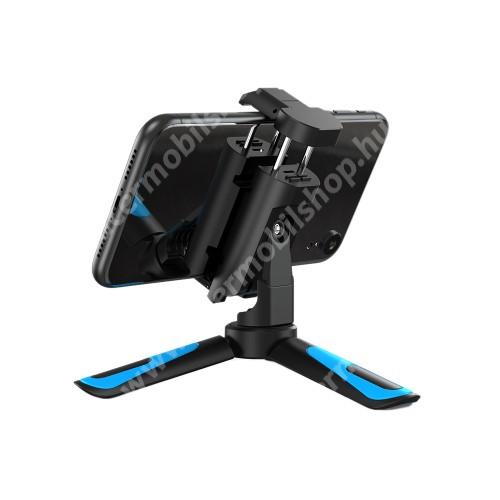"""ACER Liquid Z3 APEXEL UNIVERZÁLIS asztali tartó/ tripod fotó állvány - 360°-ban forgatható, állítható bölcső 58–90mm-ig, 95mm teljes hossz, univerzális 1/4""""-es csatlakozó - KÉK / FEKETE"""