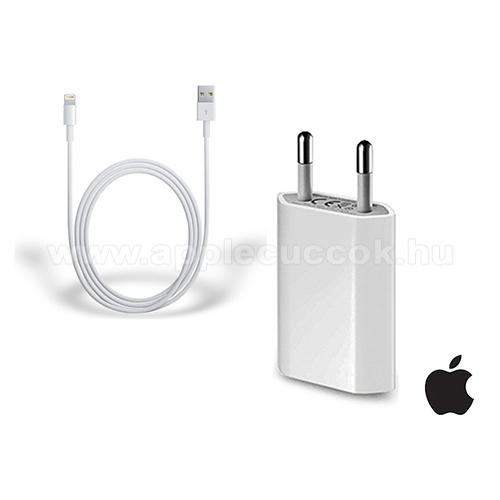 Apple AirPods 2 MV7N2ZM APPLE hálózati töltő USB aljzattal - 5V / 1A, 5W, Apple Lightning adatátvitel és töltő kábellel - FEHÉR - MD813ZM/A + MD818ZM/A - GYÁRI - Csomagolás nélküli