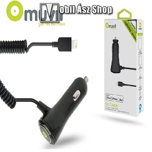 Apple iPhone 5/5S/5C/SE/iPad 4/iPad Mini Lightning szivargyújtós töltõ (Apple MFI engedélyes) - 5V/2,1A - Muvit Car Charger