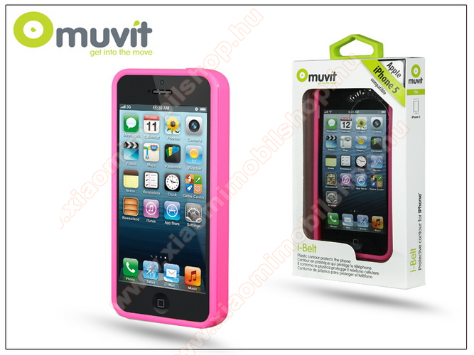 APPLE iPhone 5/5S védőkeret - Muvit i-Belt Bumper - pink - I-MUBKC0615 - GYÁRI