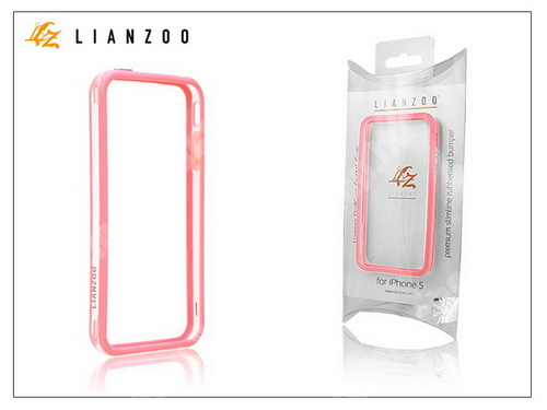Apple iPhone 5 védőkeret - Bumper - Gecko Lianzoo - clear/pink