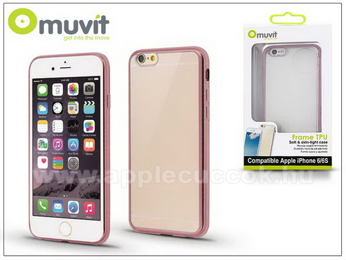 APPLE iPhone 6Apple iPhone 6/6S h�tlap - Muvit Frame TPU - clear/pink