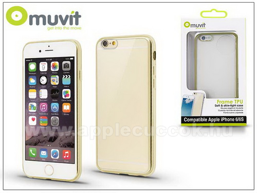 APPLE iPhone 6Apple iPhone 6/6S h�tlap - Muvit Frame TPU - clear/gold