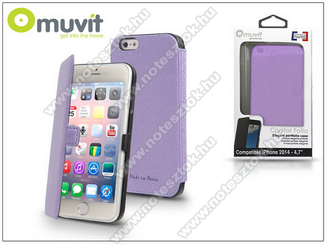 APPLE iPhone 6 APPLE iPhone 6 flipes tok - Muvit Crystal Folio - lila - I-MUSLI0533 - GYÁRI