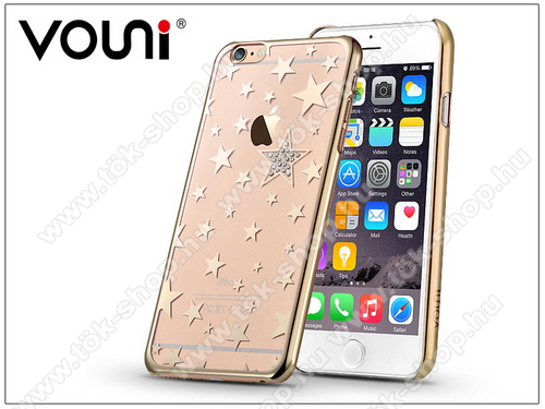 Apple iPhone 6 Plus/6S Plus hátlap kristály díszitéssel - Vouni Crystal Star - champagne gold