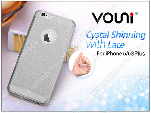 Apple iPhone 6 Plus/6S Plus szilikon hátlap - Vouni Crystal Shinning with lace - smoky black