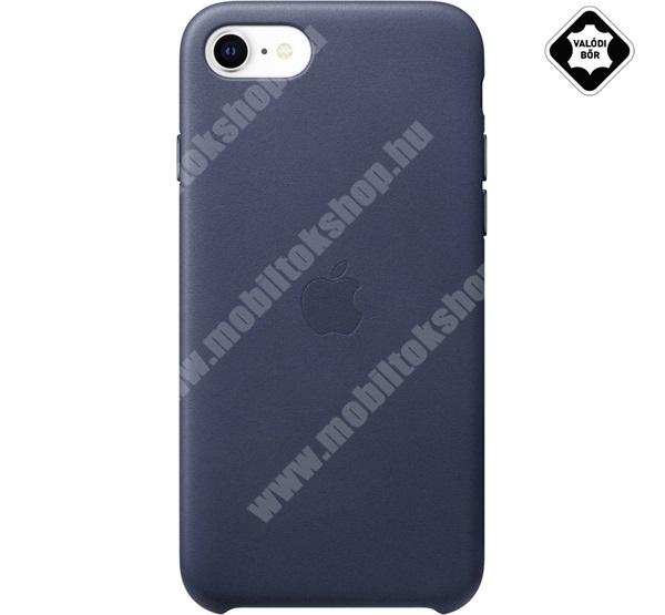 APPLE műanyag védő tok / valódi bőr hátlap - LEATHER Case - ÉJKÉK - APPLE iPhone SE (2020) / APPLE iPhone 7 / APPLE iPhone 8 - MXYN2ZM/A - GYÁRI