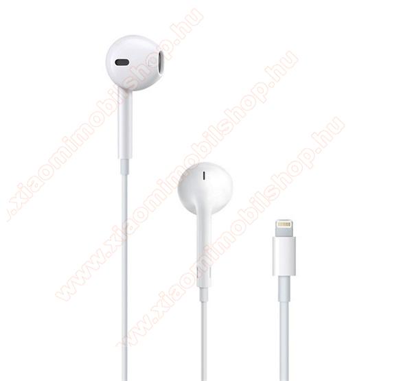 APPLE sztereo headset - lightning 8 pin, mikrofon, felvevő gomb, hangerőszabályzó - FEHÉR - MMTN2ZM/A / MMTN2AM/A - GYÁRI