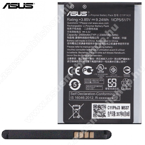 ASUS Zenfone 2 Laser (ZE500KL)ASUS Zenfone 2 Laser (ZE500KL) akkumulátor - 2400mAh Li-Polymer - C11P1428 - GYÁRI
