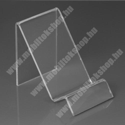 SAMSUNG SGH-E950 Asztali tartó / állvány - 6cm széles, 7,5cm magas - ÁTLÁTSZÓ PLEXI