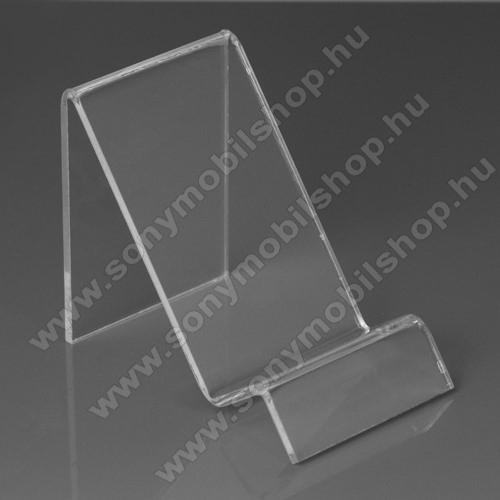 SONY Xperia Z3 + dualAsztali tartó / állvány - 6cm széles, 7,5cm magas - ÁTLÁTSZÓ PLEXI