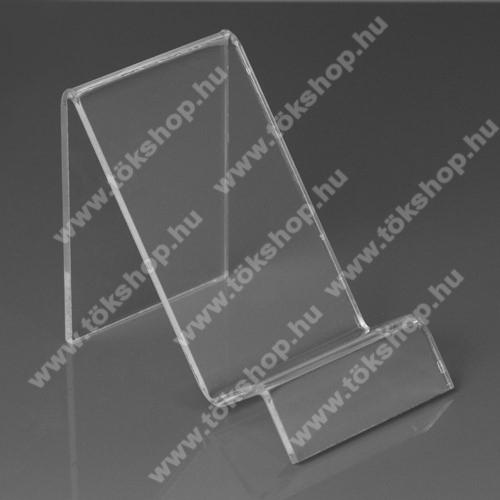 OnePlus 8T (KB2001)Asztali tartó / állvány - 6cm széles, 7,5cm magas - ÁTLÁTSZÓ PLEXI
