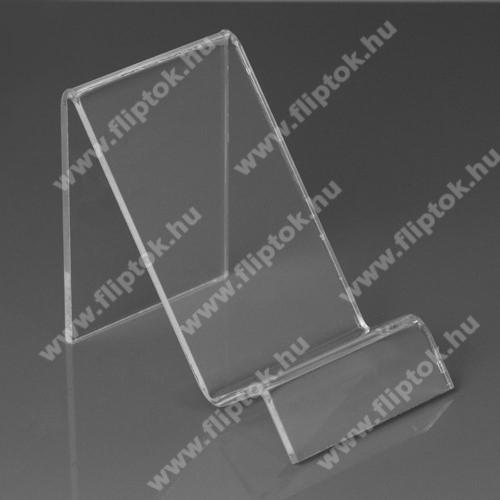 Huawei Enjoy 10Asztali tartó / állvány - 6cm széles, 7,5cm magas - ÁTLÁTSZÓ PLEXI