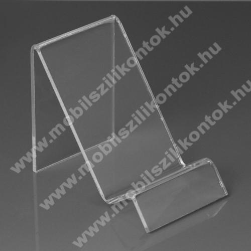 SAMSUNG Galaxy A20s (SM-A207F)Asztali tartó / állvány - 6cm széles, 7,5cm magas - ÁTLÁTSZÓ PLEXI