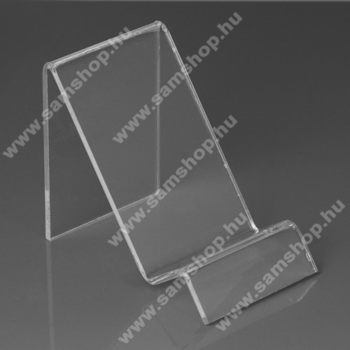 SAMSUNG Galaxy S IV. (GT-I9506)Asztali tartó / állvány - 6cm széles, 7,5cm magas - ÁTLÁTSZÓ PLEXI