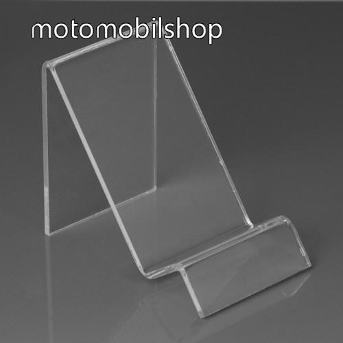MOTOROLA Moto E6 Play (XT2029) Asztali tartó / állvány - 6cm széles, 7,5cm magas - ÁTLÁTSZÓ PLEXI