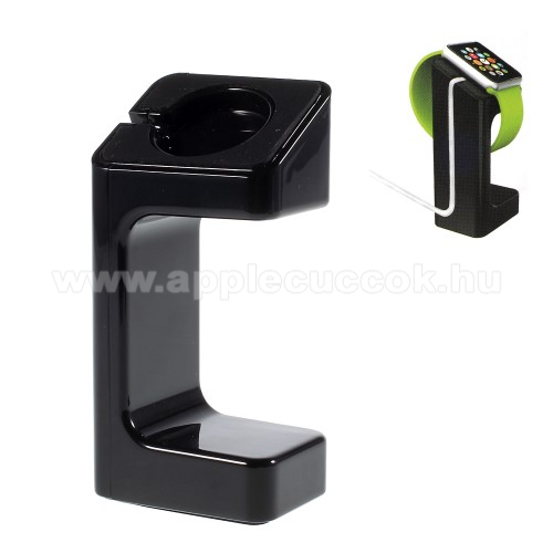 Asztali t�lt? �llv�ny - Apple Watch 38mm / 42mm - t�lt? k�bel elvezet? - FEKETE
