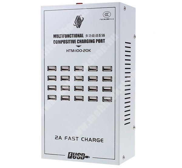 Asztali töltő állomás - aktív, 20 készülék egyidejű töltésére, 20x USB aljzat, 100W (max!), gyorstöltés támogatás, 235 x 130 x 80mm - FEHÉR -  HTM-100-20K