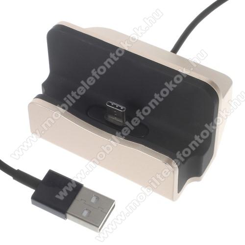 Meizu 16Asztali töltő / dokkoló - adatátviteli állvány, USB 3.1 Type C, 1m-es kábellel - ARANY
