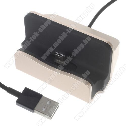 Asztali töltő / dokkoló - adatátviteli állvány, USB 3.1 Type C, 1m-es kábellel - ARANY