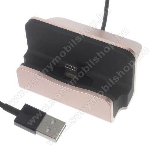 SONY Xperia 10 Plus (2019)Asztali töltő / dokkoló - adatátviteli állvány, USB 3.1 Type C, 1m-es kábellel - ROSE GOLD