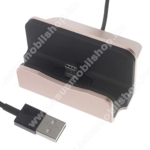 ASUS Zenfone 3 Zoom (ZE553KL)Asztali töltő / dokkoló - adatátviteli állvány, USB 3.1 Type C, 1m-es kábellel - ROSE GOLD