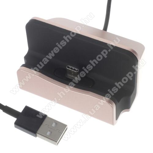 HUAWEI Honor V8Asztali töltő / dokkoló - adatátviteli állvány, USB 3.1 Type C, 1m-es kábellel - ROSE GOLD