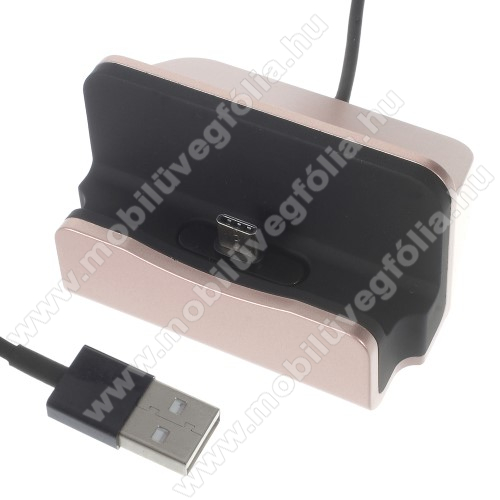 NOKIA X71Asztali töltő / dokkoló - adatátviteli állvány, USB 3.1 Type C, 1m-es kábellel - ROSE GOLD