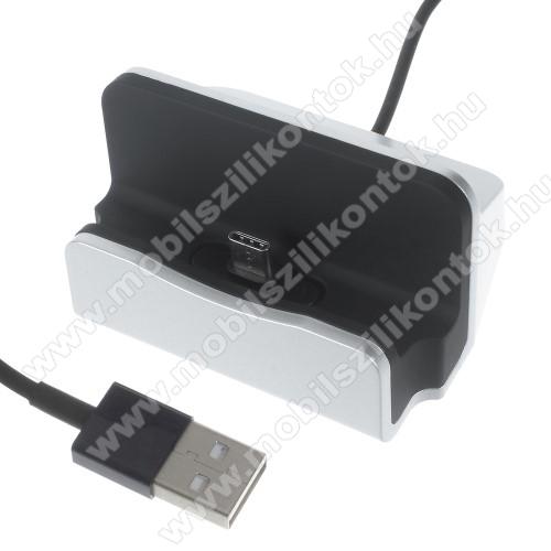 SAMSUNG Galaxy A20s (SM-A207F)Asztali töltő / dokkoló - adatátviteli állvány, USB 3.1 Type C, 1m-es kábellel - EZÜST
