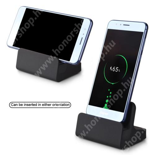 HUAWEI Honor V40 5G Asztali töltő / dokkoló - USB Type-C csatlakozó, 1m-es microUSB kábellel - FEKETE