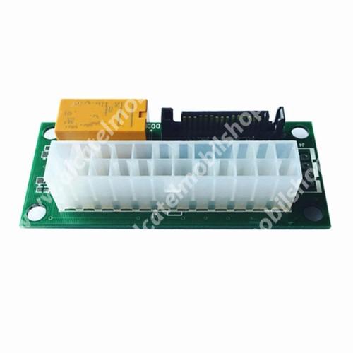 ATX bányász táp csatlakozó átalakító / tápszinkron - 24pin anya - SATA, kettő vagy több tápegység párhuzamos használata