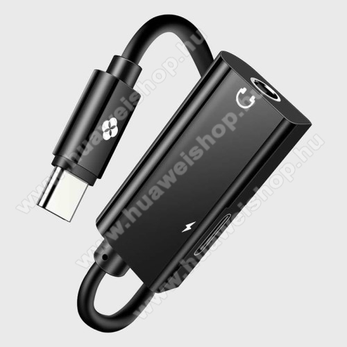 HUAWEI Honor 20 lite (For China Market) Audio adapter - Type C / 3,5mm Jack + Type C töltő aljzattal, 12cm - FEKETE