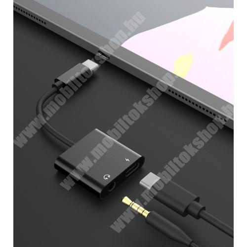 HomTom HT7 Audio adapter - Type C / 3,5mm Jack + Type C töltő aljzattal, gyorstöltés támogatás, max QC 9V/2A, 12,5cm hosszú - FEKETE