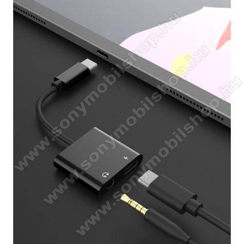 SONY Xperia Z2 (D6503)Audio adapter - Type C / 3,5mm Jack + Type C töltő aljzattal, gyorstöltés támogatás, max QC 9V/2A, 12,5cm hosszú - FEKETE