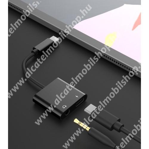 ALCATEL OT-208 Audio adapter - Type C / 3,5mm Jack + Type C töltő aljzattal, gyorstöltés támogatás, max QC 9V/2A, 12,5cm hosszú - FEKETE