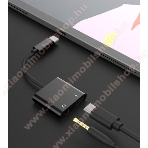 Xiaomi Mi 10T Pro 5GAudio adapter - Type C / 3,5mm Jack + Type C töltő aljzattal, gyorstöltés támogatás, max QC 9V/2A, 12,5cm hosszú - FEKETE