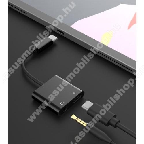 ASUS Zenfone Go (ZB552KL)Audio adapter - Type C / 3,5mm Jack + Type C töltő aljzattal, gyorstöltés támogatás, max QC 9V/2A, 12,5cm hosszú - FEKETE