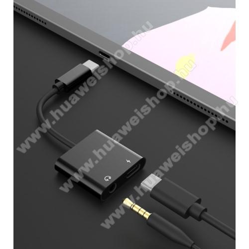 HUAWEI Mate 30Audio adapter - Type C / 3,5mm Jack + Type C töltő aljzattal, gyorstöltés támogatás, max QC 9V/2A, 12,5cm hosszú - FEKETE